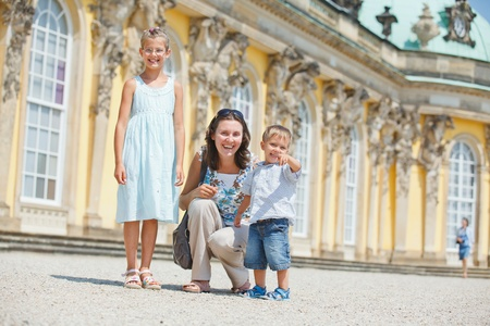 a place of life: Tourists walking in Sans Souci