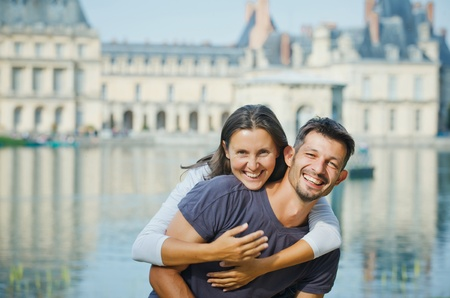 Young Couple Walking in Fontainebleau