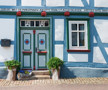 old building facades: German Half-timbered house Stock Photo