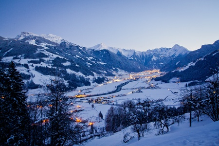 austrian village: Ski resort at night