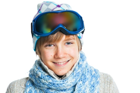 Portrait of a caucasian teenager in ski wearing photo