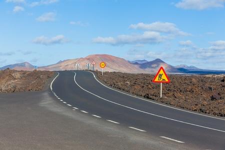 timanfaya: Empty road Lanzarote, Canary islands
