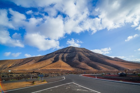 Empty road Lanzarote, Canary islands photo