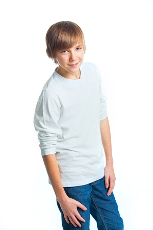 Portrait of young beautiful boy in white photo