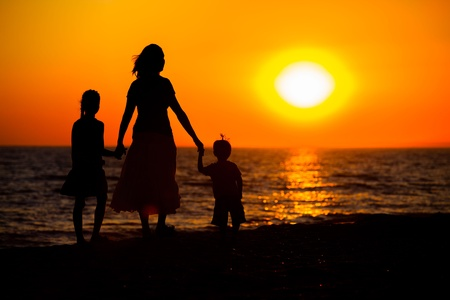 daugther: Mother and her kids silhouettes