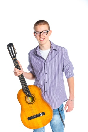 boy with classical Spanish guitar Stock Photo - 12977499