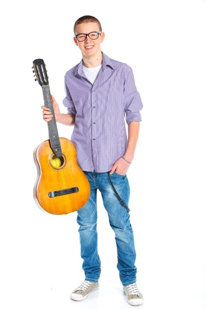 boy with classical Spanish guitar Stock Photo - 12977482
