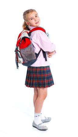 sch�ler: kleines, blondes M�dchen mit Schule Rucksack Tasche Lizenzfreie Bilder