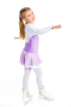 winter dance: Happy young girl figure skating Isolated  Stock Photo
