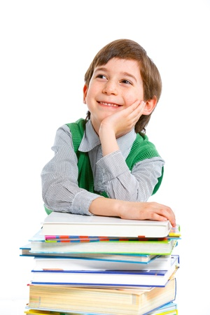 Education - funny boy with books Stock Photo - 13066511