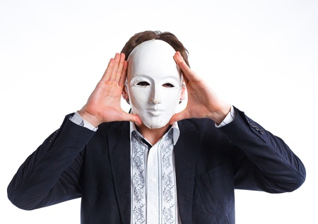 portrait of emotional actor in a mask  photo