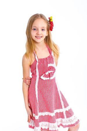 pink posing: cute little girl in red clothes