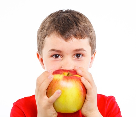 Little boy with apple Stock Photo - 13224928