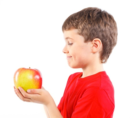 Little boy with apple Stock Photo - 13224921