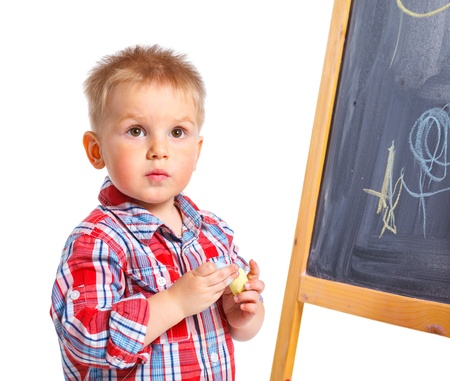 Little boy draws on the board Stock Photo - 13275277