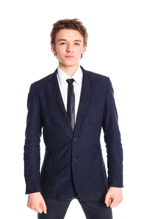 Teenage boy in a business suit photo