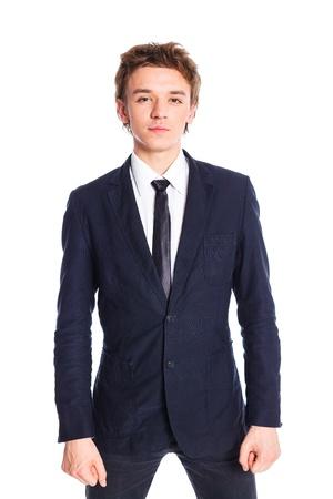 tie necktie: Teenage boy in a business suit