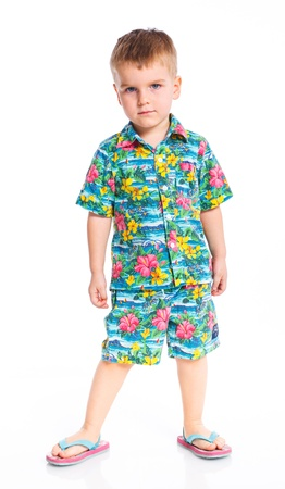 boardshorts: Little cute boy dressed in beach clothes