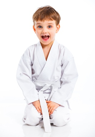 aikido: Aikido boy recreation position Stock Photo