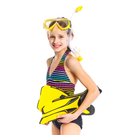 flippers: Diver girl Stock Photo