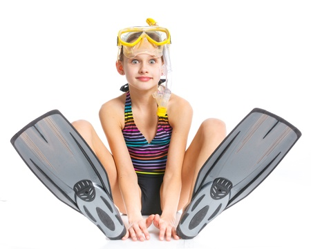 skin diving: Diver girl Stock Photo