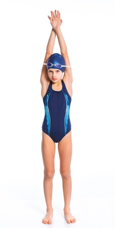 kids swimming: Young swimmer girl