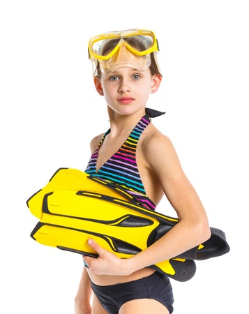 snorkeling: Diver girl Stock Photo