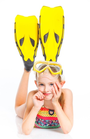 snorkle: Diver girl Stock Photo