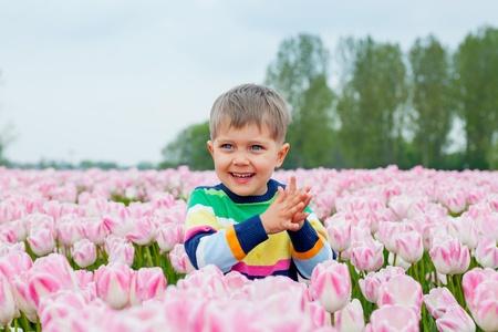 Boy In Tulip Field Stock Photo - 13746732