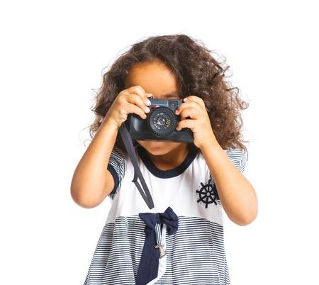 mulatto: Happy mulatto girl with camera