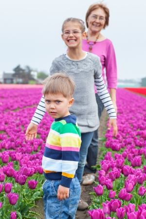 Boy with family in the purple tulips field Stock Photo - 13920644