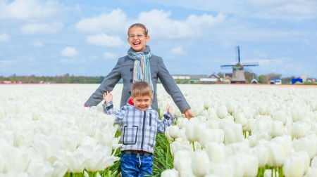 Child in the purple tulips field photo