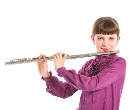 flauta: Chica tocando la flauta transversal