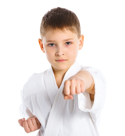 Aikido boy fighting position photo