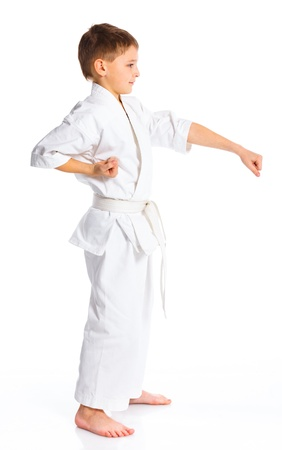Aikido boy fighting position photo