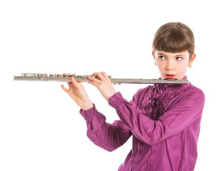 Girl playing transverse flute photo