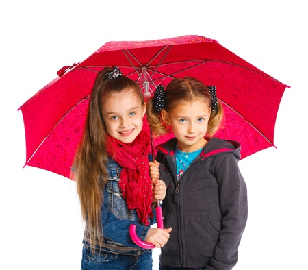Two Beautiful girls with umbrella Stock Photo - 14095222