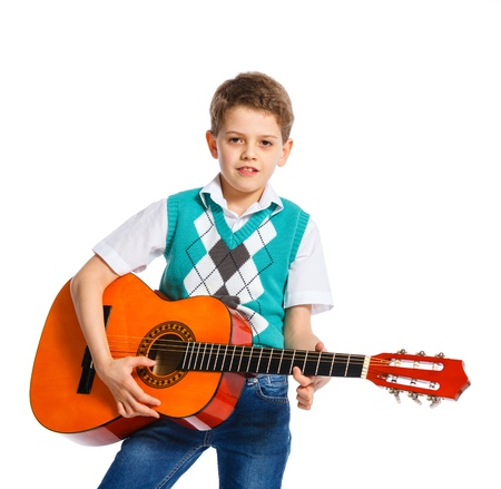 boy with classical Spanish guitar photo