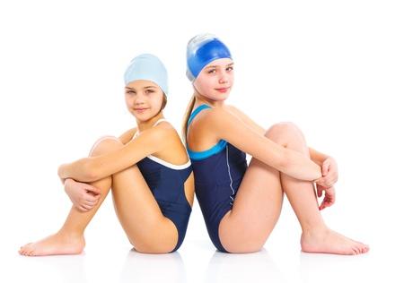 to swim: Young swimmer girls