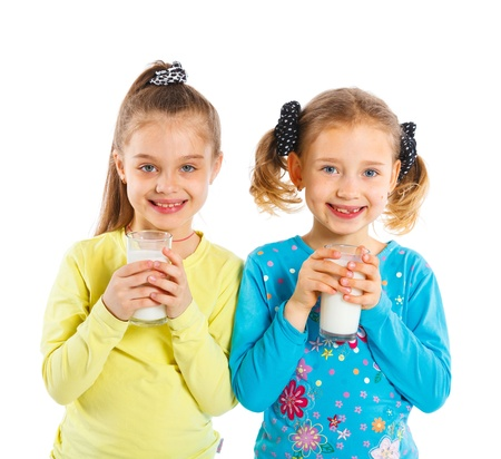 Two girl with milk photo