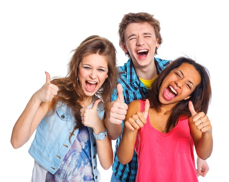 group of teens: Three young teenagers Stock Photo