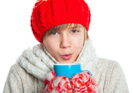 Portrait of young boy in winter style photo