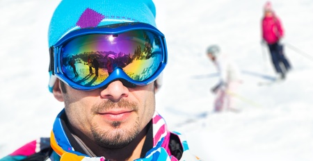 35 years old man: Young man with ski goggles Stock Photo
