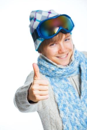Portrait of a caucasian teenager in ski wearing Imagens