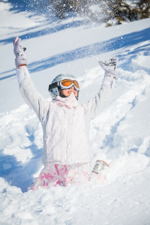 Winter vacation, ski girl photo