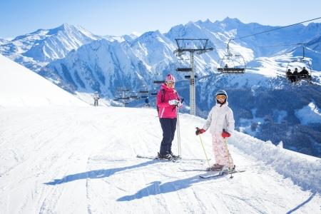 ski goggles: Happy skiers Stock Photo