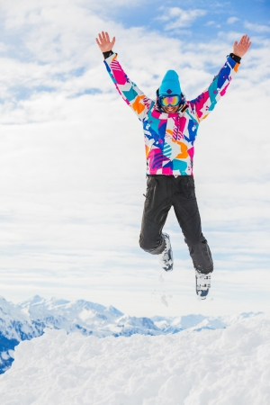 wintersport: Young skier jumping Stock Photo