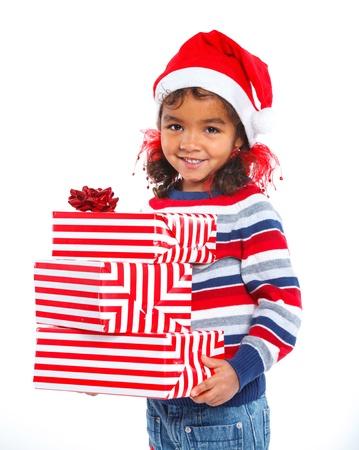 niños negros: Ni?a en el sombrero de Santa s con caja de regalo