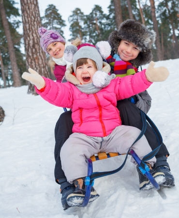 Children on sleds in snow forest  Vertical view