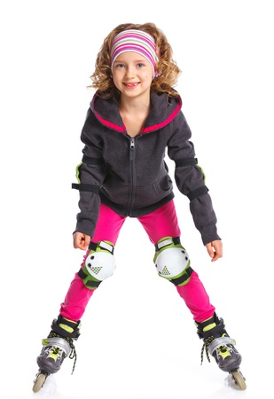 rollerskater: Cute girl in roller skates on a white background Stock Photo
